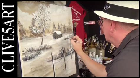 Winter Cabin   Bob Ross style   You Can Paint Along
