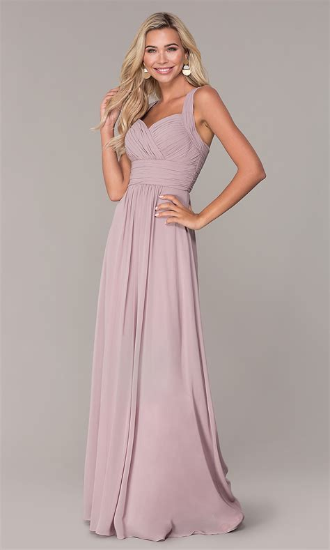 Chiffon Long Prom Dress with Ruched Bodice - PromGirl