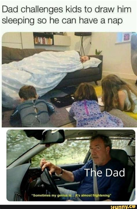 Dad challenges kids to draw him sleeping so he can have a