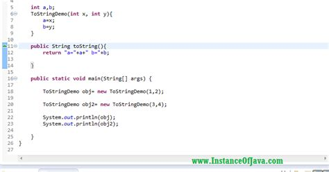 toString() method in java with example program