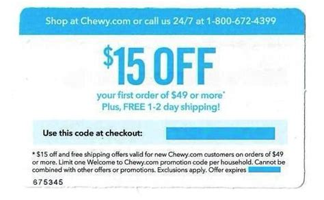 Chewy $15 off $49 or More PLUS Free Shipping—Instant