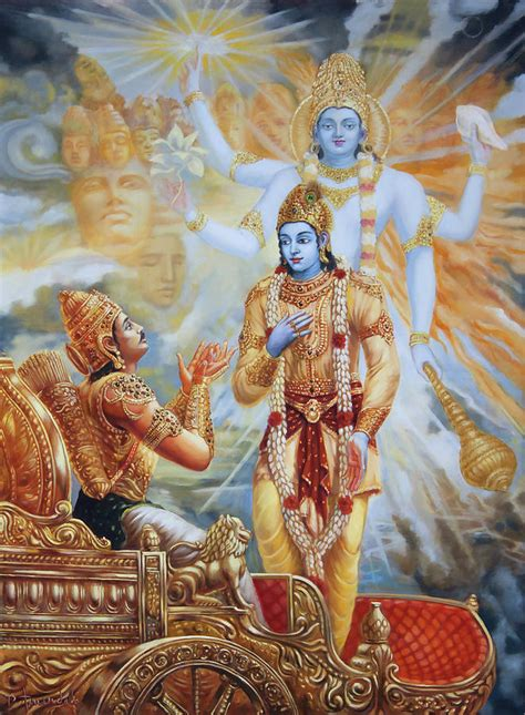 Krishna Reveals His Universal Form To Arjuna Painting by