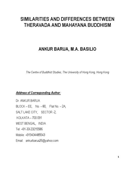 Similarities and Differences Between Theravada and