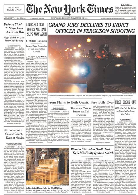 Newspaper Front Pages Covering Ferguson, Missouri Today