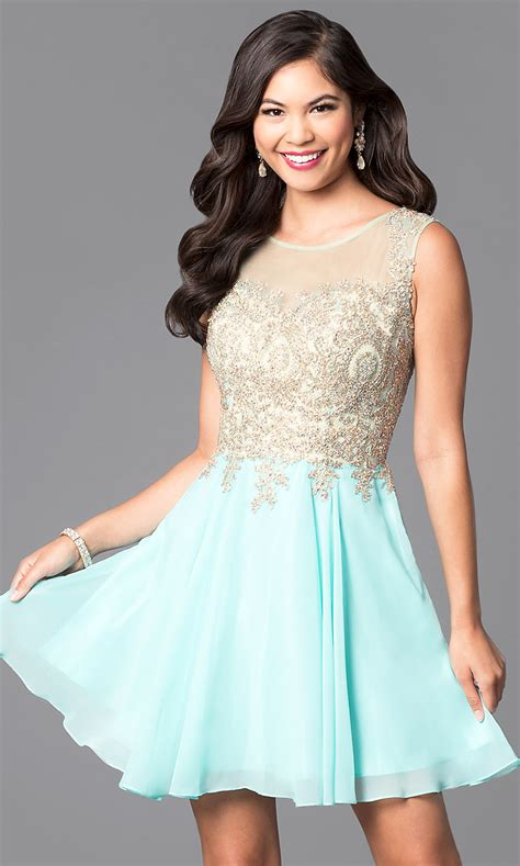 Short Jeweled Fit-and-Flare Prom Dress - PromGirl