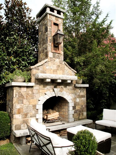 Rocky Outdoor Fireplace Designs For Stronger Exterior