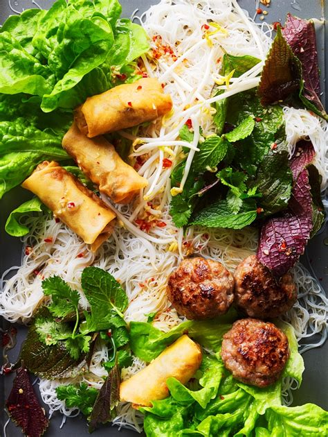 Grilled pork and spring roll noodle salad (bun cha) recipe