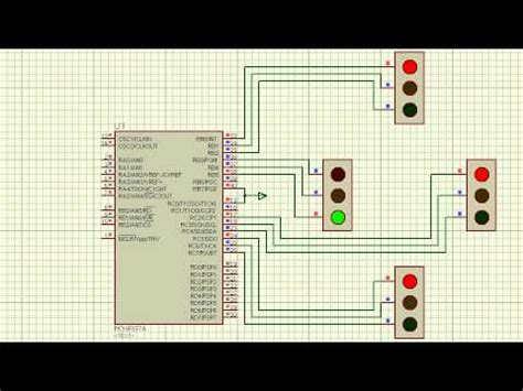 4 Way Traffic Signal Designed By Using MPLab And Proteus