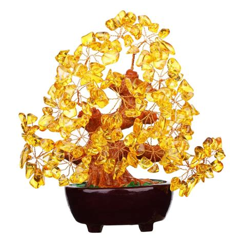 Feng Shui Natural Citrine Gem Stone Money Tree 7 Inch-in