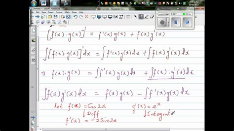 Evaluate by integrating by parts the integration of (e^x