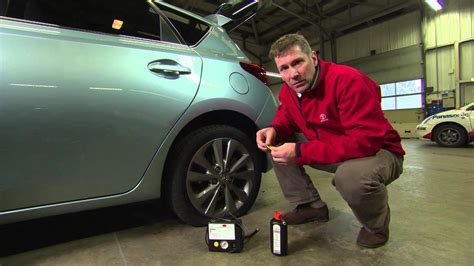 Toyota 'how to' - Use a tyre repair kit - YouTube